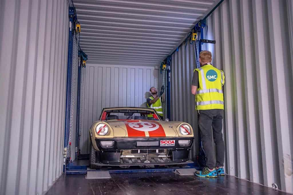 Car being loading into container using specialist R-Rak racking