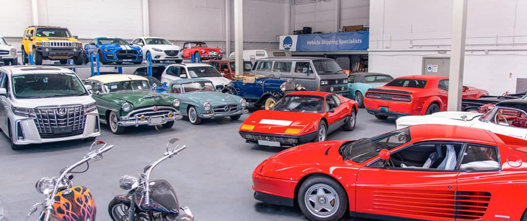 An example of all the different types of cars we ship from classics to modern day supercars